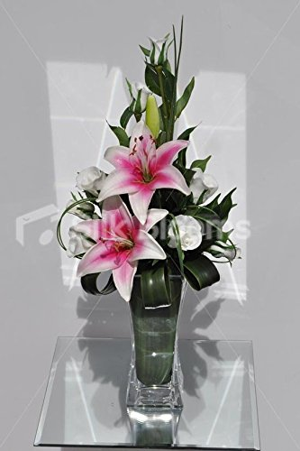 - Classic Pink Centred Stargazer Lily and White Fresh Touch Rose Floral Table Arrangement