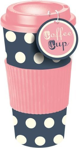 Pink & Blue Polka Dot Thermal Insulated Tea Coffee Mug Cup Travel Takeaway & Lid The Home Fusion Company