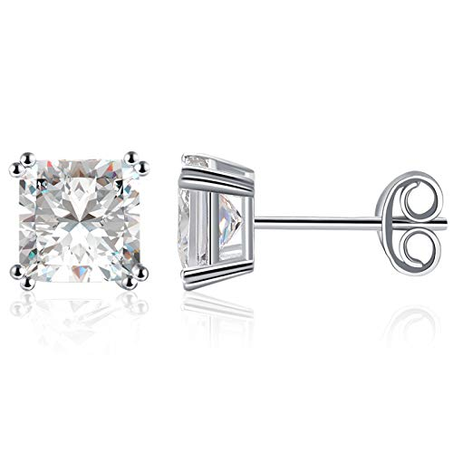Lanroque Sterling Silver 6mm Princess Cut White Diamond Cubic Zirconia Stud Earrings for Men and Women