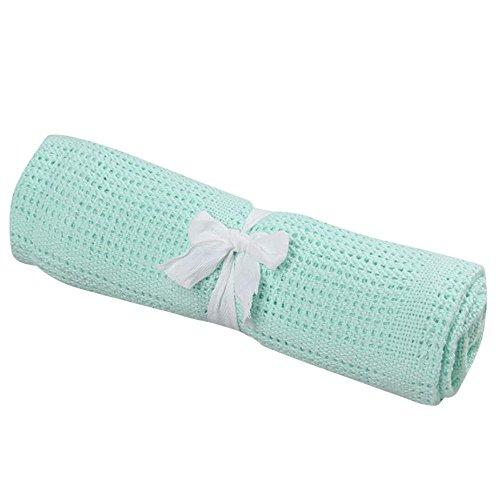 Simayixx Newborn New 100% Cotton Unisex Baby Cellular Swaddling Blanket Pram Cot Bed Moses Basket Crib, Keep Warm Breathable (Mint Green)