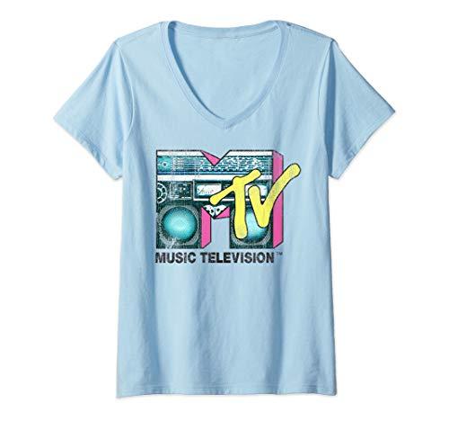 Mtv Boombox - Womens MTV Logo Distressed Boombox V-Neck T-Shirt