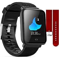 Relógio Smartwatch Q9 2 Pulseiras Monitor Pressão Arterial Frequência Cardíaca Pedômetro (PRETO/VERMELHO)