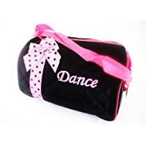 Girls Dance Duffle Bag Hot Pink and Black, Gym, Travel and Sleep-over Bag.
