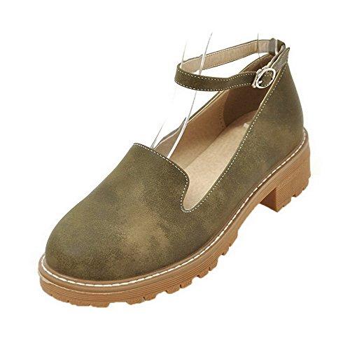 Odomolor Women's Buckle PU Round-Toe Low-Heels Solid Pumps-Shoes, Green, 38