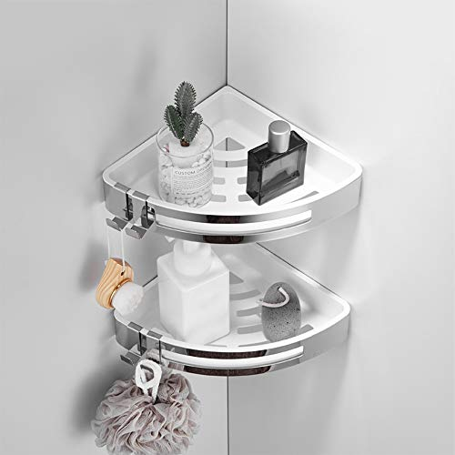 Tagve Bathroom Shelves Wall Mounted Kitchen Storage Organizer Stainless Steel Corner Shelf Hook Accessories  2