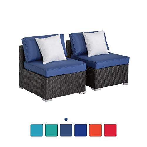 Peach Tree Outdoor Loveseat 2 PCs Patio Furniture Set, Wicker Armless Sofa Chairs Black Rattan Thick Cushions Infinitely Combination (Wicker Patio Black Furniture Friday)