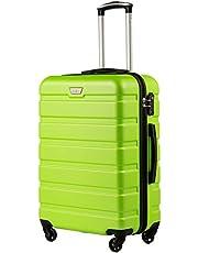 COOLIFE Hartschalen-Koffer Trolley Rollkoffer Reisekoffer mit TSA-Schloss und 4 Rollen(Grün, Handgepäck)