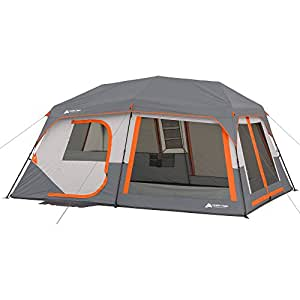 "Ozark Trail Instant Cabin Tent with Built in Cabin Lights, Sleeps 10, 14' x 10' x 78"", Easy Set Up, Includes Rain Fly, Fits 2 Queen Air Mattresses!"
