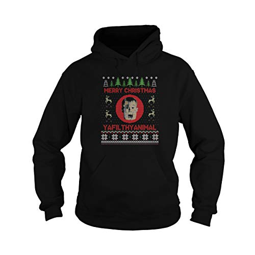 Unisex Christmas Home Alone Filthy Animals Knit Hoodie (XL, Black) ()