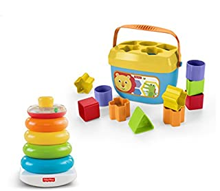 Little ones will have a blast with this exciting gift set, which features two iconic Fisher Price toys!Little handswill love grasping, holding, shaking and stacking the five colorful rings of the classic Rock a Stack toy, with its wobby base that r...
