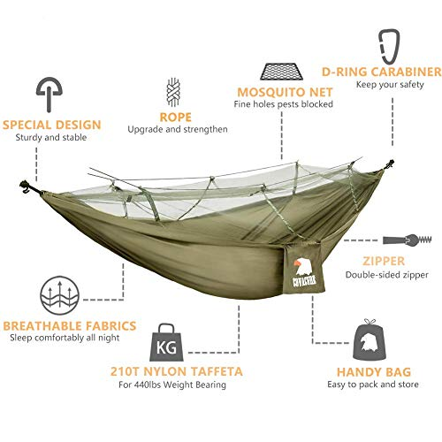 Camping Hammock with Mosquito Net – Lightweight COVACURE Double Hammock, Portable Hammocks for Indoor,Outdoor, Hiking, Camping, Backpacking, Travel, Backyard, Beach