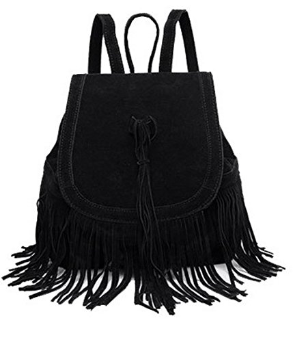 Moda Bolsas Mano Odomolor Mujeres Negro Hombro Ante Cremalleras de Bolsas Negro ROPBL181335 de qTApSw45