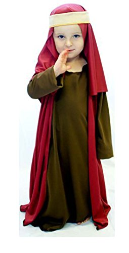Nativity-Bible-World Book Day Brown & Burgundy Shepherd/Joseph Fancy Dress Costume All Ages (Age 3-4)