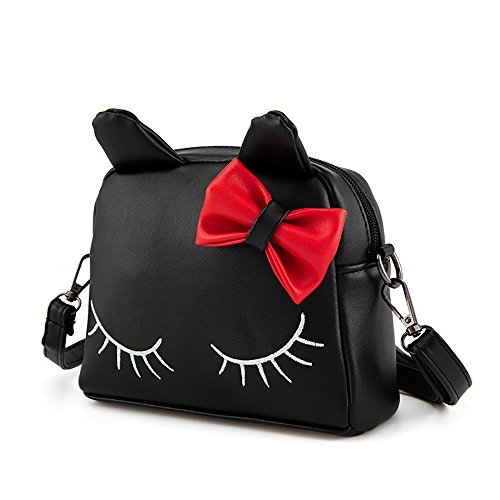 Pinky Family Cute Cat Ear Kids Handbags PU Leather Crossbody Bags and Backpacks (black)
