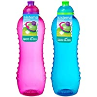 Sistema Set of 2 Twist 'n' Sip Drink Bottles, 620ml Blue and Pink