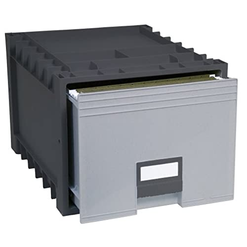 Storex Archive Storage Box For Letter Size Hanging Files  Inch Depth Black Grey Uc