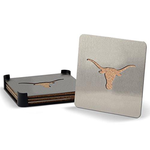 YouTheFan NCAA Texas Longhorns 4-Piece Stainless Steel Boaster Drink (Texas Longhorns Coaster Set)