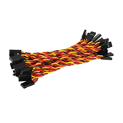 - OliYin 20pcs Male to Male Plug Twisted Wiring 100mm 10cm 3.93inch 26AWG 30 Cores RC Servo Extension Lead Cable for Futaba JR
