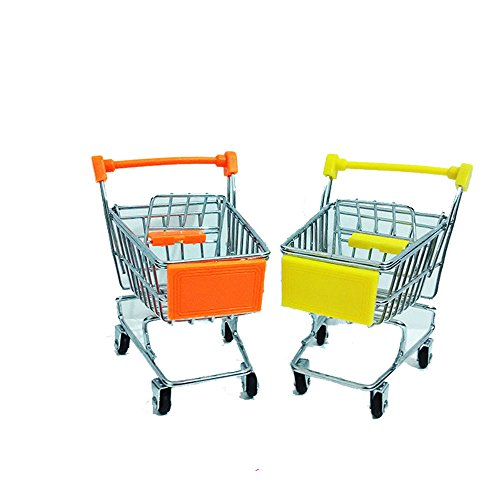 2Pcs Deluxe Metal Shopping Trolley Supermarket Trolley Cart