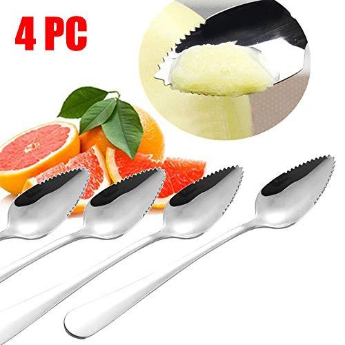 YJYDADA Spoon,4PC Thick Stainless Steel Grapefruit Spoon Dessert Spoon Serrated Edge