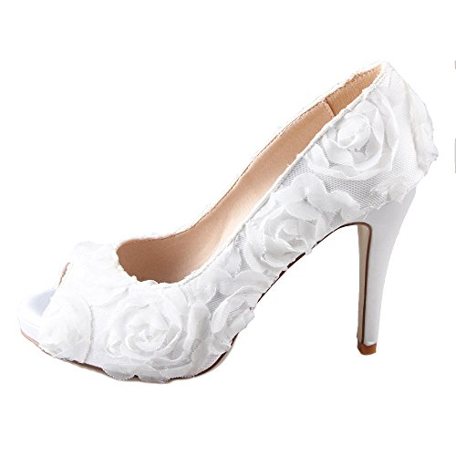 Creativesugar women's 3D rose white flower peep toe pumps wedding party shoes (6.5)