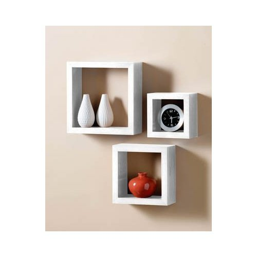 Set Of White Wall Cube Shelves Amazoncouk Kitchen Home - Cube shelves