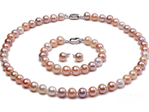 JYX Pearl Necklace Set 9mm AAAA Round White Pink and Lavender Freshwater Pearl Necklace Bracelet and Earring Set for - Pearl Earrings Necklace Lavender Bracelet