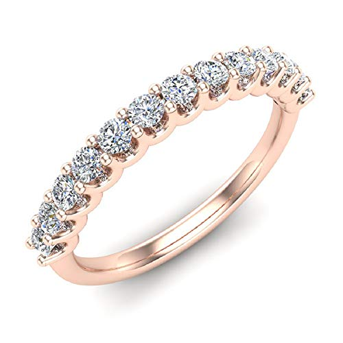 (0.50 ct tw Diamond Wedding Anniversary Band 18K Rose Gold (Ring Size 8.5))
