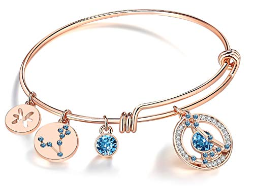 Leafael Superstar Pisces Zodiac Expandable Bangle Bracelet Made with Swarovski Crystals Horoscope Constellation Feburary March Birthstone Jewelry, Rose Gold Plated, 7