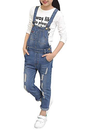 Long Kids Overalls - Rosiika Girls Big Kids Denim Overalls Long Ripped Holes Jeans Jumpsuits Pants Blue 160