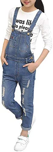 Girls Big Kids Distressed Denim Overalls Blue Long Ripped Holes Jeans Romper 1P