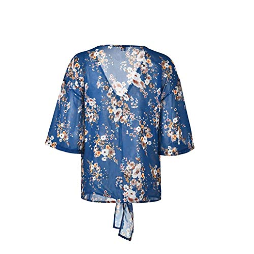 Demi Chemisier Blouse GongzhuMM Ourlet de Imprim Mousseline Femmes Profond Lacets Femmes Trompettes Femmes Soie Chemise V Manches Tunique Bleu Chic zOdqOp