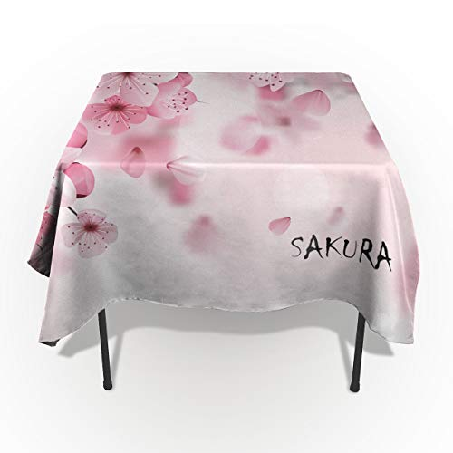 Pink Tablecloths for Rectangle 60 x 84-inch Table Cover, Cotton Linen Fabric Table Cloth Tabletop for Dining Room Kitchen, Japanese Cherry Blossom Sakura Tree with Romantic Influence Theme,