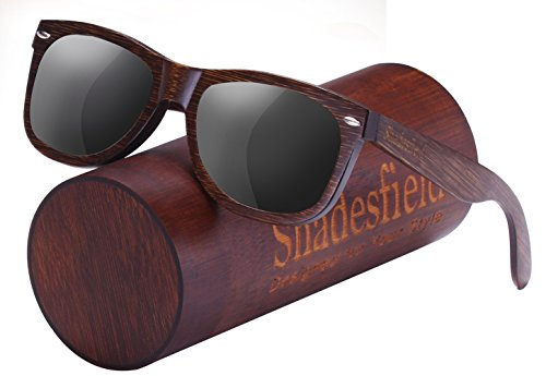 Shadesfield Wayfarer Wood Sunglasses with Polarized Lenses for Men or Women - 100% UV Protection. - Type Sunglasses Different Of