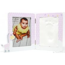 Baby Handprint & Footprint Clay Kit - Picture Frame DIY with Premium Wooden Frame & Non-Toxic Unique Baby Shower Gift for New Moms or Baby Registry - A Memorable Keepsake | By BABY FLÖ