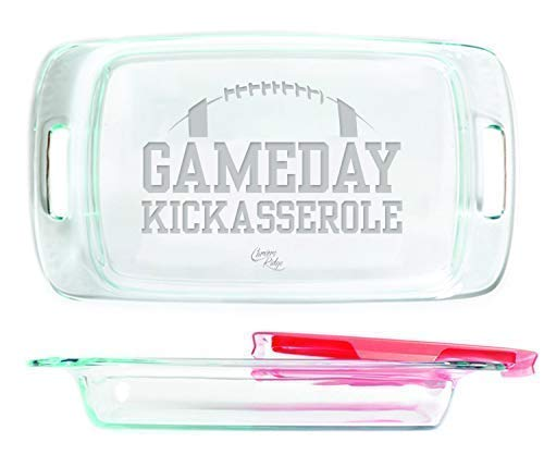Engraved Glass Baking Dish with Lid 7x11 - Gameday Kickasserole