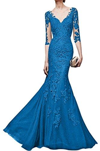 Blau Langes Etuikleider Spitze Braut Festlichkleider V mia Orange La Damen ausschnitt Abendkleider Partykleider 7q0Hzf
