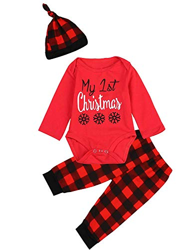 Infant Baby Boys Girls Christmas Outfits My First Christmas Snowflake Romper Bodysuit Plaid Pants with Hat 3Pcs Xmas Sets (Red, 6-12 Months) Babys 1st Christmas Outfit