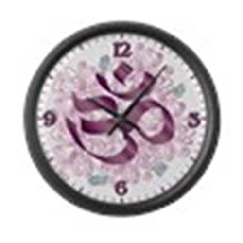 Large Wall Clock Hindu Om Omkara Aum Meditation Symbol by Truly Teague