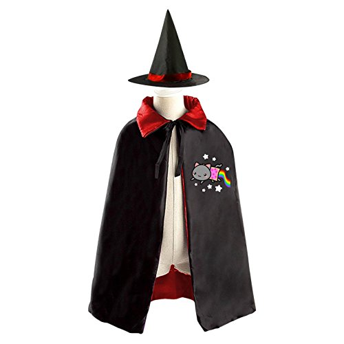 Girl Nyan Cat Costume (Halloween Costume Children Cloak Cape Wizard Hat Cosplay Nyan Cat For Kids Boys Girls)