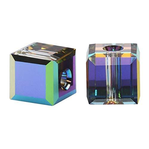 - 4pcs Authentic 8mm Swarovski Crystals 5601 Cube Crystal Beads Swarovski Beads (Vitrail Medium) SWA-C860