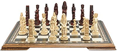 Egyptian Themed Chess Set - 4.5 Inches - In Presentation Box - Handmade in UK - Ivory and Burgundy