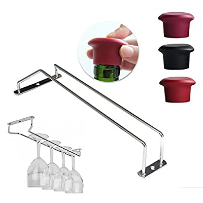 """14"""" Chrome Plated Glass Hanger Bar Wine Rack Attched To Ceiling Cabinets or Shelving Get 1 Free Sponge Brush Bottle Cup Glass Washing Cleaning Kitchen Cleaner Tool"""