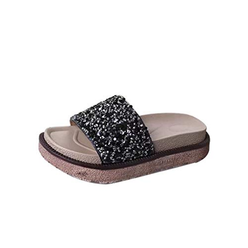 Black YUCH Toe Casual Sandales Femme Slippers Casual qvzYqZ