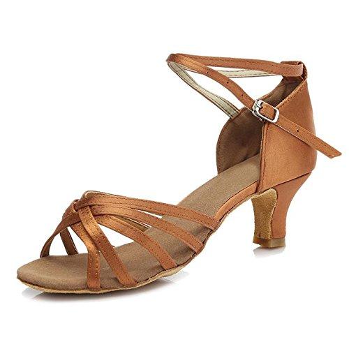 HROYL Women's Standard Latin/Modern/Samba/Chacha Dance Shoes Satin Ballroom S7-213 5CM Brown oRYNdv3Bgv