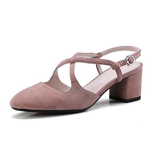 Sandalias de Las Mujeres Sandalias Salvajes de la Manera Sandalias Bajas de la Subida del Color Sólido Negro/Marrón/Rosa/Púrpura Size34-39 (Color : Rosado, Tamaño : 34)