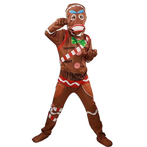 Children's Gingerbread Jumpsuit Kids' Cosplay Costume with Mask for Party Halloween Christmas(S) Brown