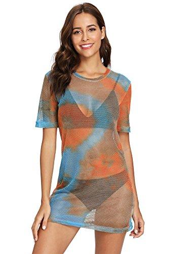 MakeMeChic Women's Short Sleeve See Through Sheer Mesh T Shirt Dress Multi L
