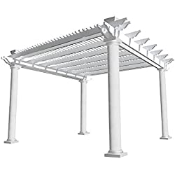 Biscayne 12 ft. x 12 ft. White Double Beam Vinyl Pergola
