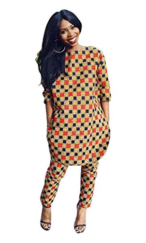 Print African Clothing - Women's African Print 3/4 Sleeve Tops and Long Pants Set Two Pieces